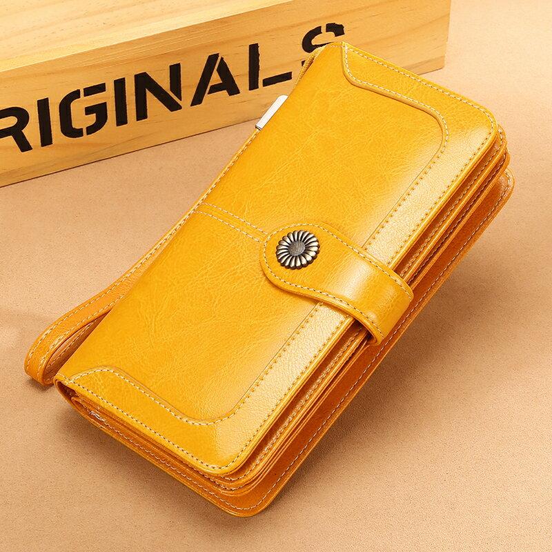多卡位皮夾 長皮夾(女)黃色皮夾錢包女長款招財軟大容量品牌皮製刺繡手拿包『xy0259』