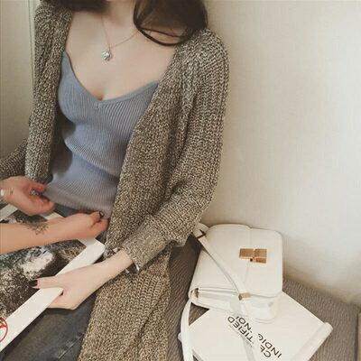 針織上衣無袖T恤~簡約百搭性感細肩帶女裝5色73hn60~ ~~米蘭 ~