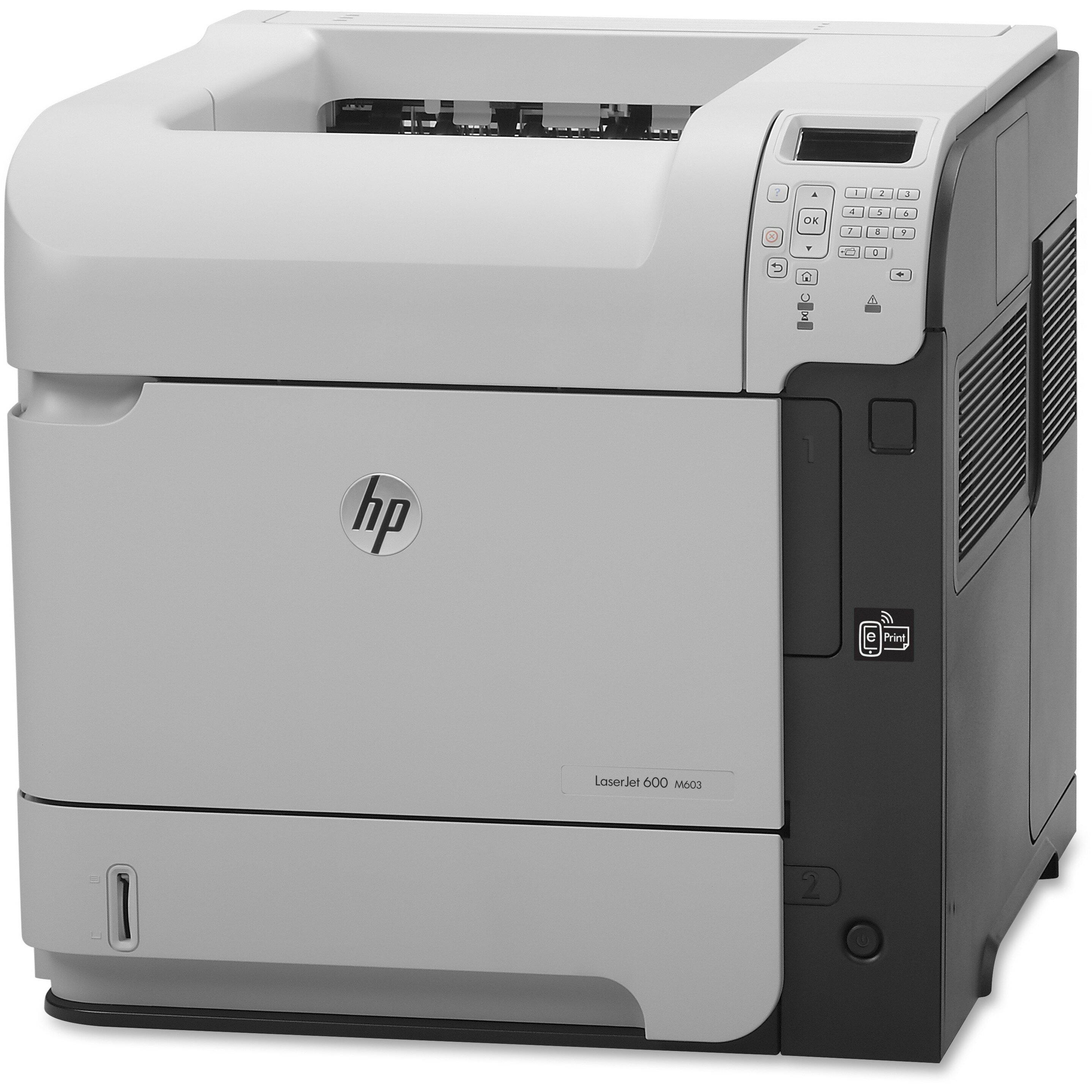 """HP LaserJet 600 M603N Laser Printer - Monochrome - 1200 x 1200 dpi Print - Plain Paper Print - Desktop - 62 ppm Mono Print - C6 Envelope, A4, A5, A6, B6 (JIS), B5 (JIS), 16K, Executive JIS, RA4, Letter, ... - 4.49"""", 8.27"""", 5.83"""", 4.13"""", 3.94"""", 8.50"""", ... 2"""