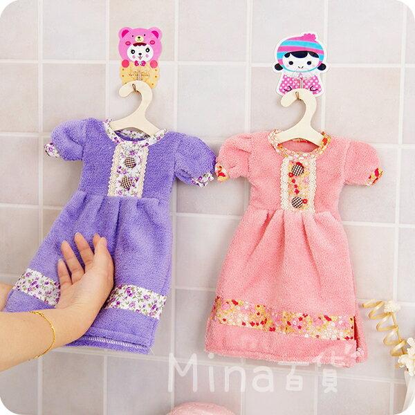 (mina百貨) 可愛連衣裙擦手巾 擦手巾 廚房搓手巾 吸水 掛式 搓手巾 珊瑚絨 加厚 F0170