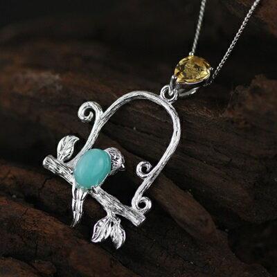 ~925純銀項鍊 天河石吊墜~ 精緻唯美小鳥情人節生日 女飾品2色73gm57~ ~~米蘭