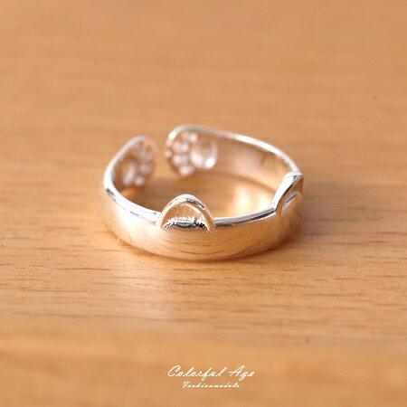 戒指 925純銀寬版貓咪耳朵 柒彩年代【NPC29】