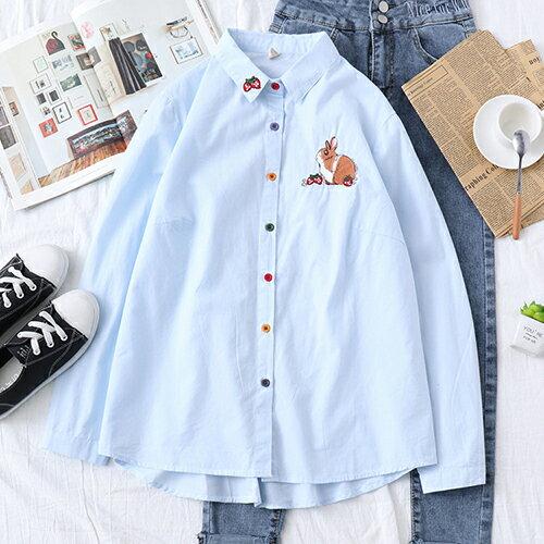 刺繡可愛兔子草莓棉質翻領長袖襯衫(2色S~L)【OREAD】 1