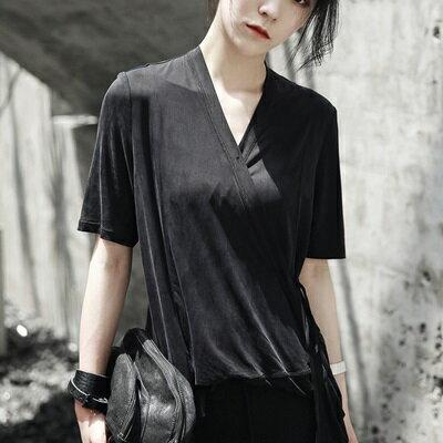 短袖T恤中長款-冰涼絲滑和服綁帶設計純色女上衣73sl30【獨家進口】【米蘭精品】