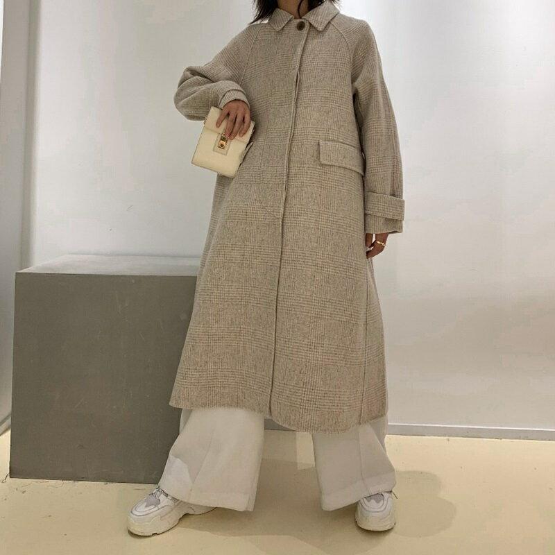 毛呢大衣羊毛外套-長版翻領暗扣寬鬆女外套2色73wb6【獨家進口】【米蘭精品】 0