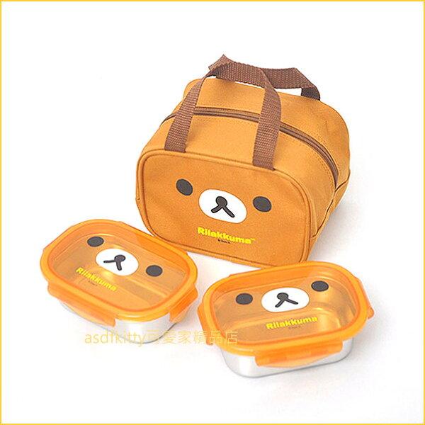 asdfkitty可愛家☆san-x拉拉熊304不鏽鋼便當盒2入附手提收納袋-韓國製