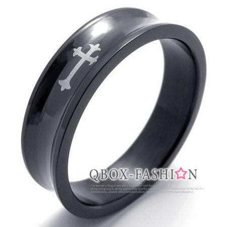 QBOX Fashion 飾品:《QBOX》FASHION飾品【R10020180】精緻黑色十字架316L鈦鋼戒指戒環