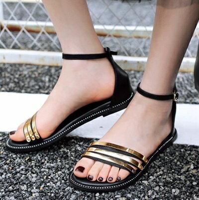 ~平底鞋三條帶羅馬涼鞋~ 優雅露趾休閒女鞋子3色73ey1~ ~~米蘭 ~