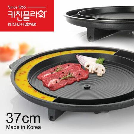 烤肉首選 韓國 Kitchen Flower 圓形烘蛋烤盤 37cm 不沾鍋 烤盤 韓式烤肉 燒肉 壽喜燒【N100838】
