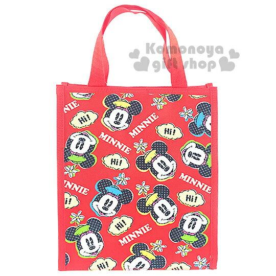 〔小禮堂〕迪士尼 米妮 直式手提便當袋《紅.大臉滿版》輕巧好攜帶