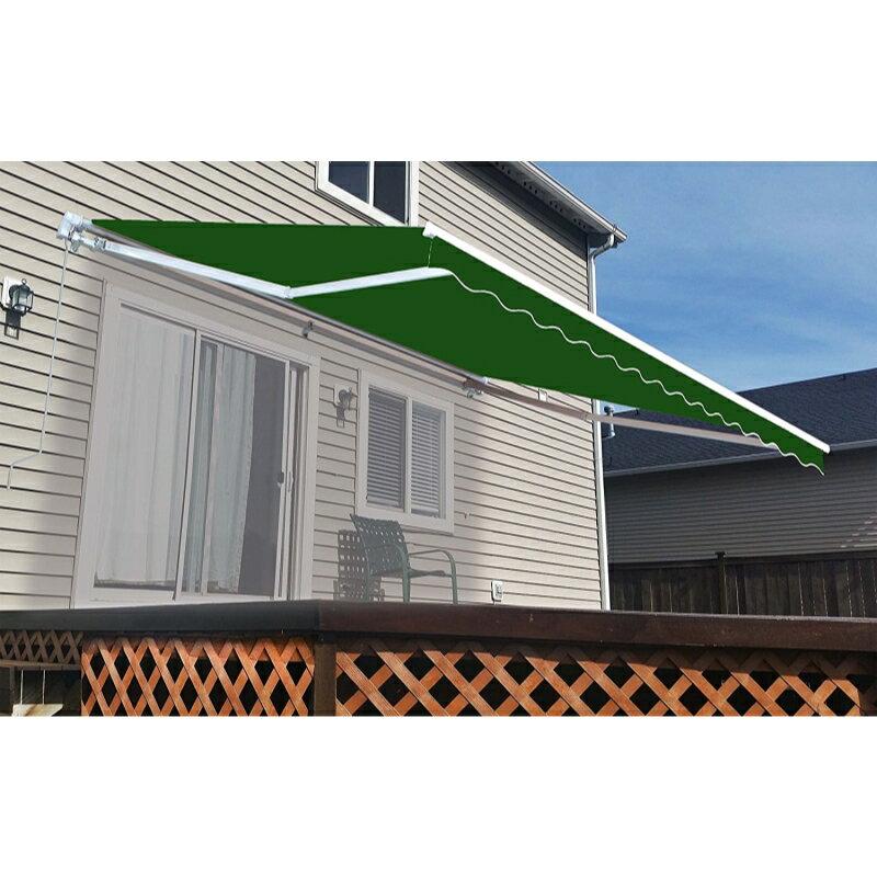 Garden Structures & Shade Aleko Sunshade Half Cassette Retractable Patio Deck Awning 13x10 Ft Green/white Home & Garden