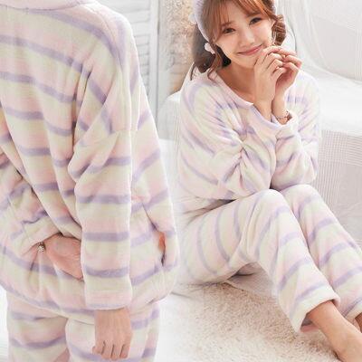雙層絨毛~長版超軟珊瑚絨睡衣-兩件式~睡衣+睡褲-2色(粉、紫)
