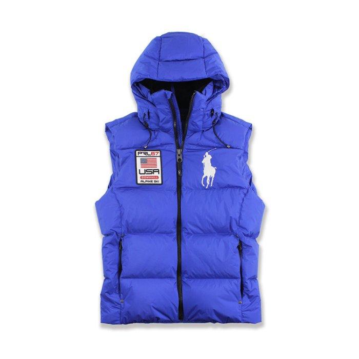 美國百分百【Ralph Lauren】背心 RL 無袖外套 Polo 大馬 羽絨 連帽 保暖上衣 寶藍 S號 H404