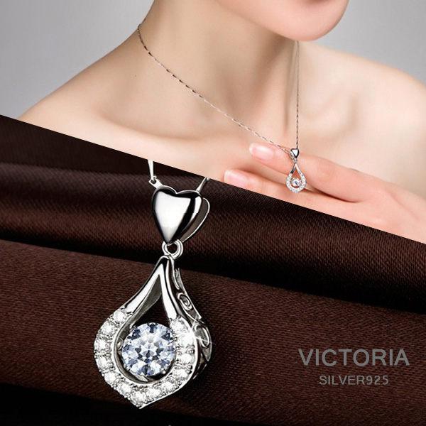 Victoria:S925銀優雅水滴造型項鍊-維多利亞170725