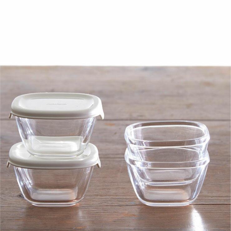 HARIO 方形玻璃保鮮盒4件組/白色/MKK-2012-OW 2