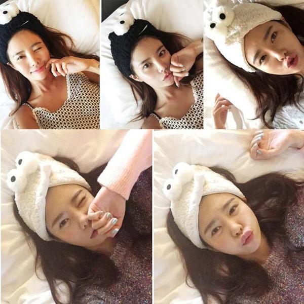 PS Mall 韓國大眼睛可愛羊羔毛絨茸茸立體對眼居家洗漱束髮帶 洗臉髮帶~G1906~