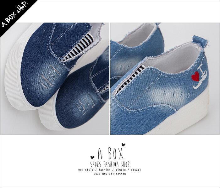 格子舖*【AWA-6】率性刷色刷白牛仔布破壞設計 可愛愛心 V口鬆緊厚底帆布鞋 懶人鞋 2色 1