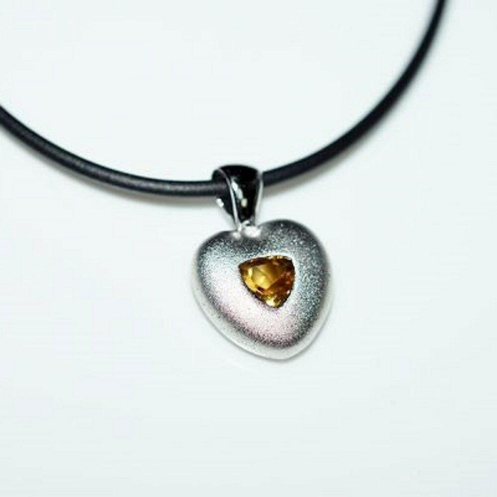 【喨喨飾品】天然石 純銀墜飾 /皮繩 M348