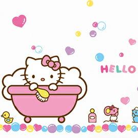 WallFree 窩自在 DIY 無痕創意牆貼/壁貼-Hello Kitty快樂泡泡浴