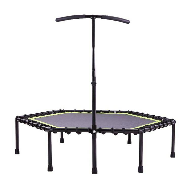 LeeFitness蹦蹦床 成人健身房商用六邊形彈力繩超靜音帶扶手跳床