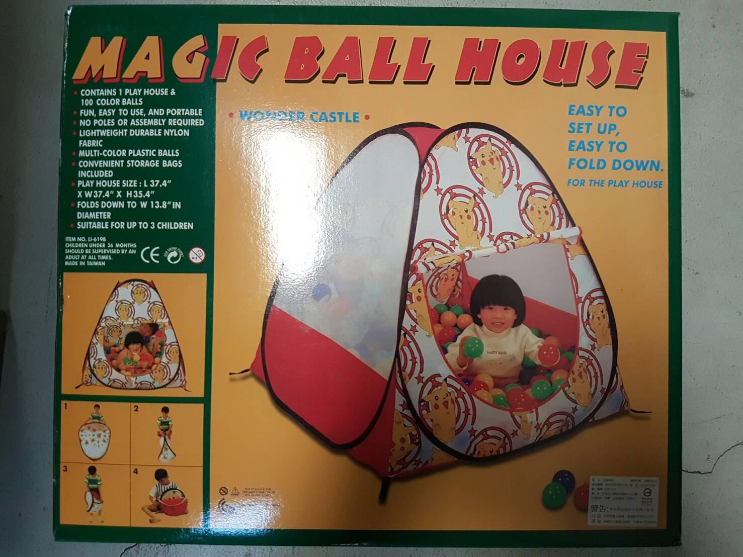 台灣商品 皮卡丘款 兒童自動球屋 折疊遊戲球屋 附100顆球