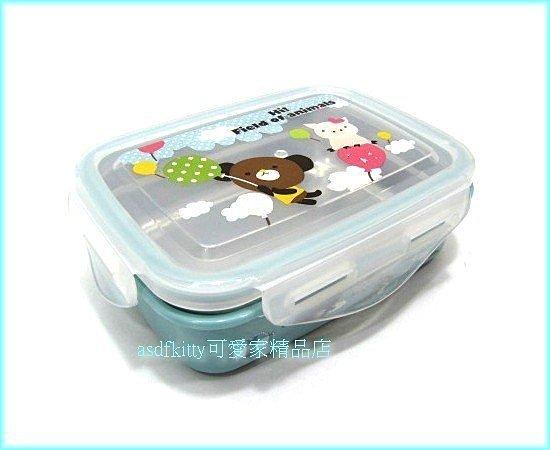 asdfkitty可愛家☆摩卡熊玫瑰豬防燙不鏽鋼方形便當盒-樂扣型-保鮮盒-韓國製