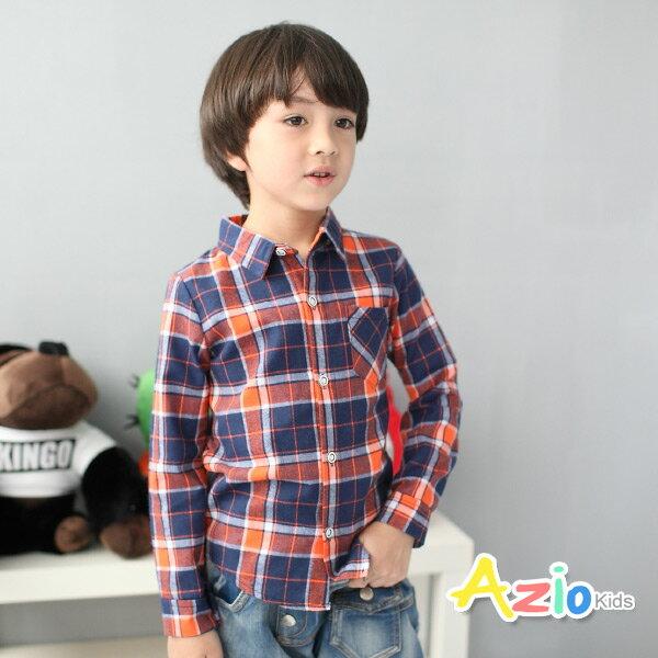 《Azio Kids 美國派 童裝》襯衫 格紋細線配色單口袋襯衫(橘)