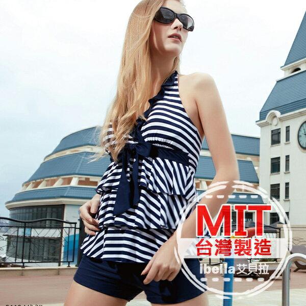 二件式泳裝 MIT 製條紋蛋糕式背心平口褲泳衣 附帽   ~36~66~85112~ibe