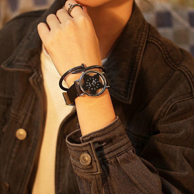 手表男女學生韓版簡約潮流時尚休閑透明鏤空情侶皮帶非機械石英表