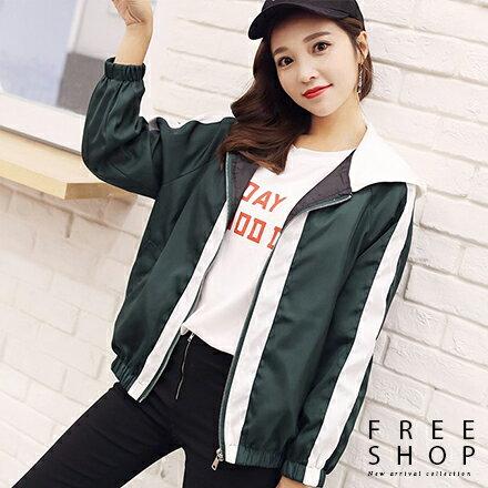 Free Shop:FreeShop女款街頭百搭撞色拼接電繡字母造型連帽運動外套擋風外套夾克黑色綠色紅色【QMDM9021】