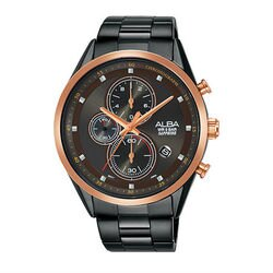 ALBA VD57-X106SD(AM3459X1)廣告款時尚黑金計時腕錶/43mm