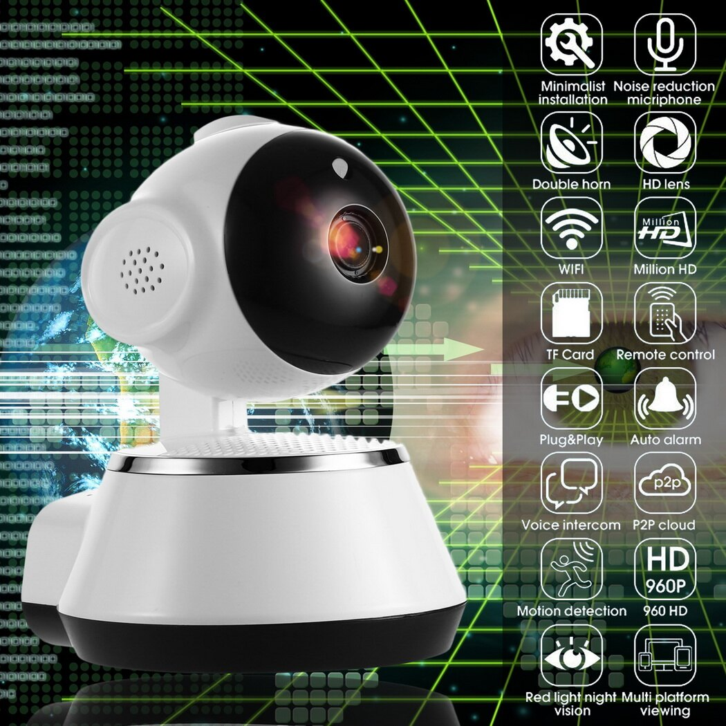 Wireless WiFi Baby Monitor Alarm Home Security IP Camera HD 720P Night Vision US Plug White 0