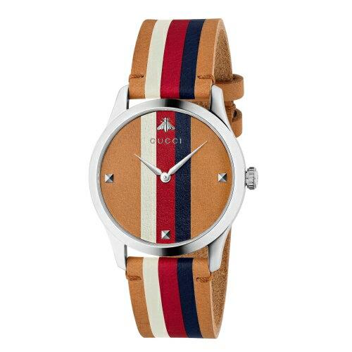 GUCCIG-Timeless小蜜蜂條紋logo牛皮時尚腕錶1264078