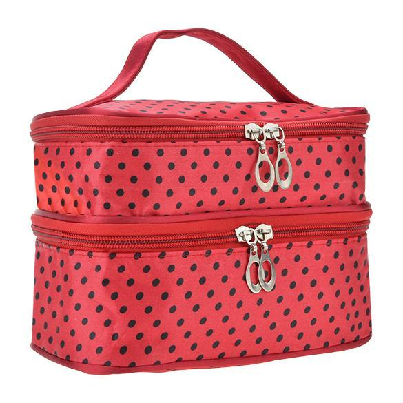 Portable Double-Deck Toiletry Bag Dot Pattern Makeup Bag 5