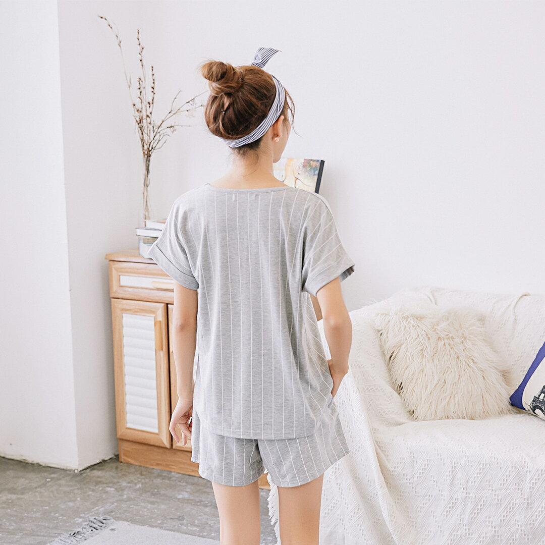 小清新流行居家服 純棉短袖短褲睡衣 直條紋家居服 休閒套裝 共兩色M-XL【漫時光】(87041L) 5
