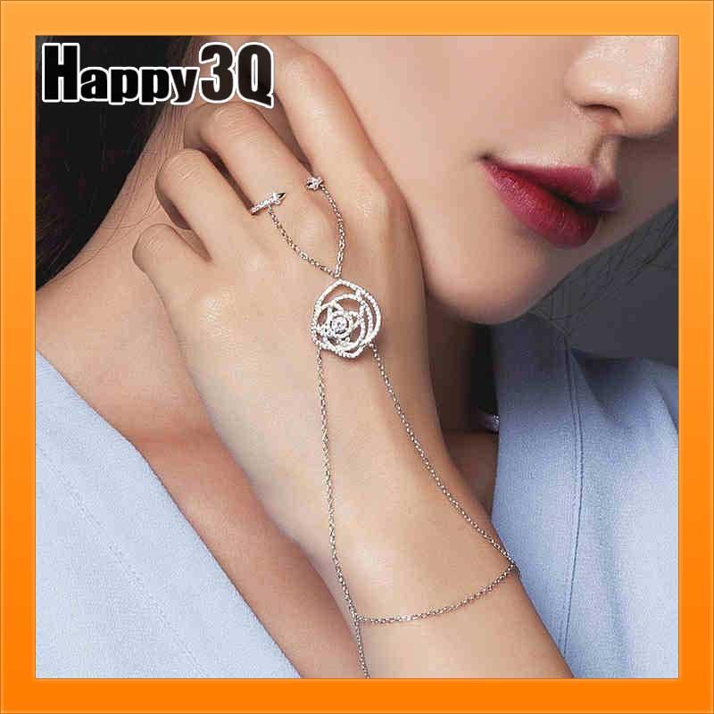 生日情人節 女友玫瑰花朵可調開口戒指手鍊手鏈手環手飾品~AAA1687~