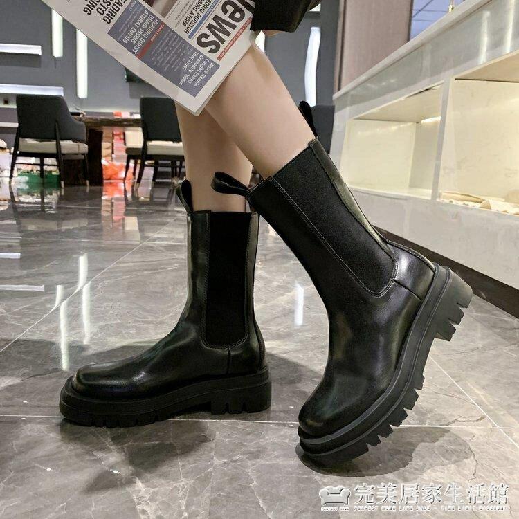 新款煙筒短靴子mona同款厚底切爾西中筒靴馬丁靴女英倫風 【雙十二全館免運】
