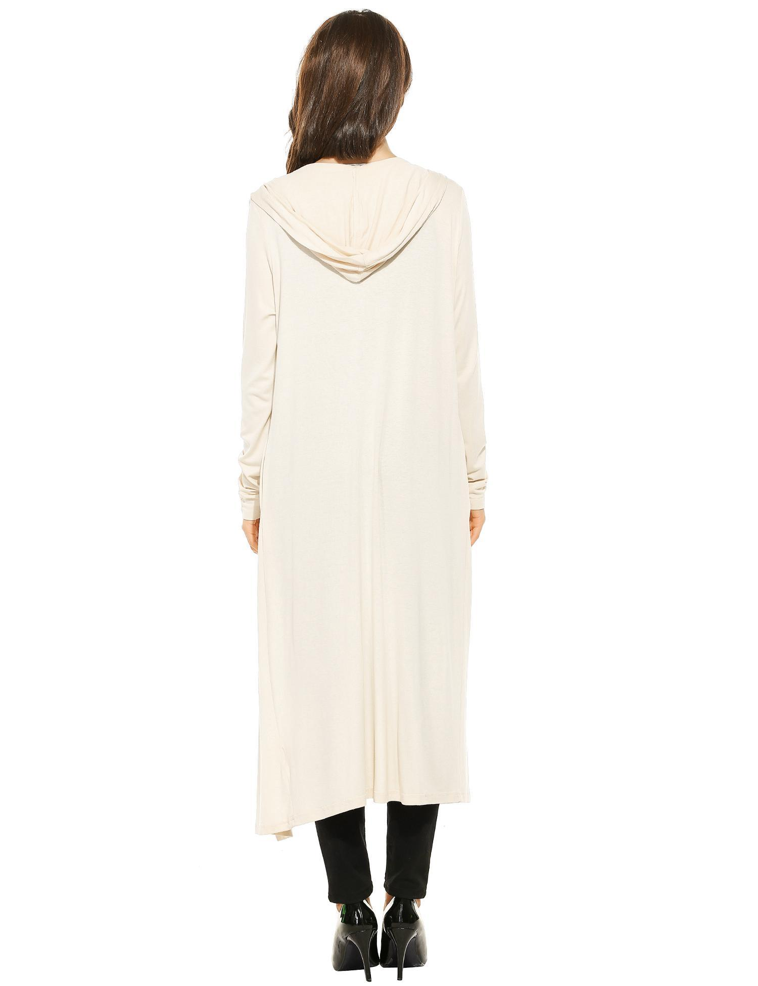 Women Casual Hooded Long Sleeve Solid Maxi Cardigan 4