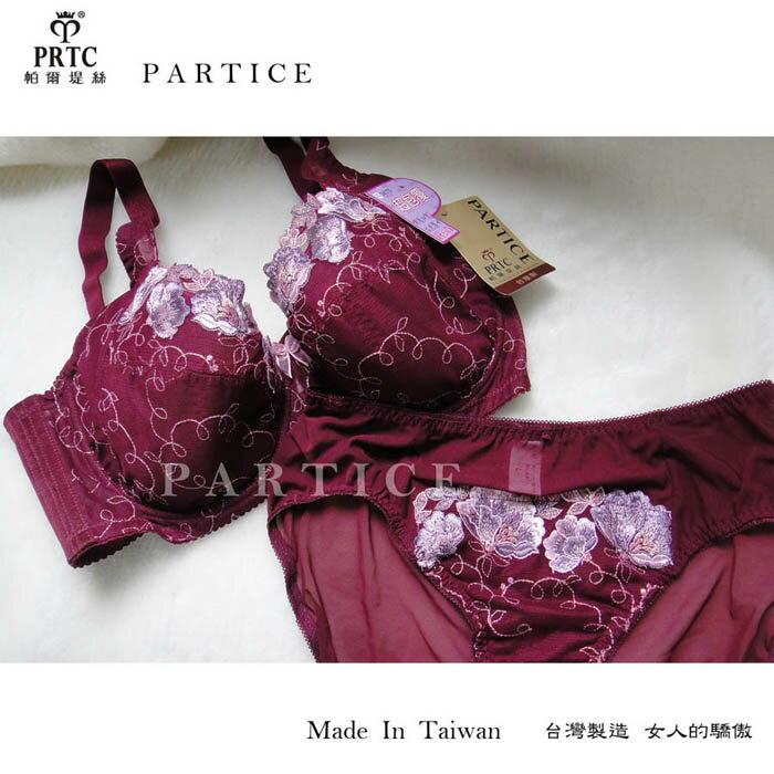 ~帕爾堤絲~美麗溝引 大罩杯蕾絲包覆機能單件內褲^(暗紫色^)