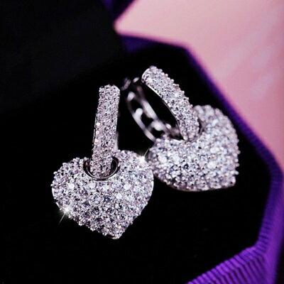 925純銀耳環鑲鑽耳飾~ 高檔奢華愛心情人節生日 女飾品73du14~ ~~米蘭 ~