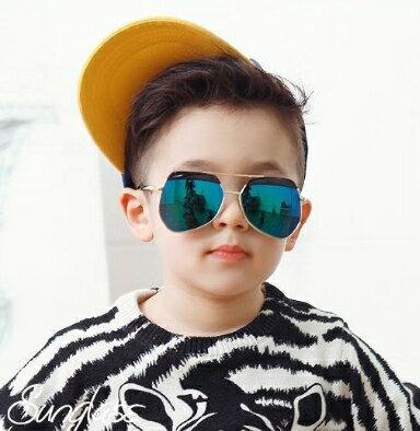 Kocotree◆時尚質感鏡框弧度紫外線護目兒童成人親子款炫彩太陽眼鏡-深藍(兒童款)