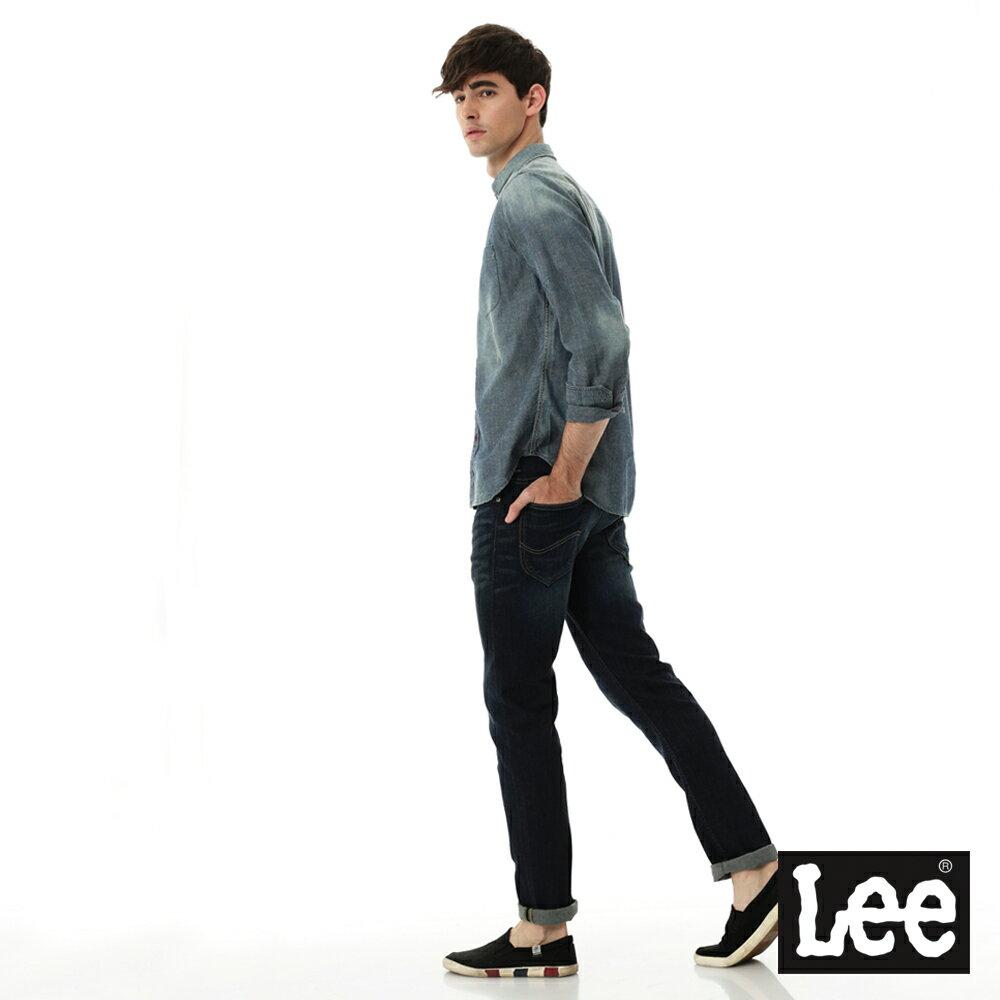 Lee 牛仔襯衫 棉點竹節深淺漸層 -男款-中古淺藍 4