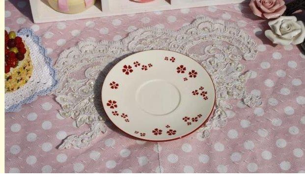 小紅花陶瓷小碟子 蛋糕碟 零食碟 點心碟 小小水果碟 糖果碟