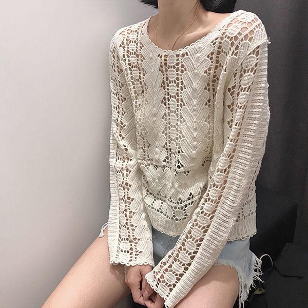 PS Mall 顯瘦防曬鏤空鉤花罩衫套頭 上衣 洋裝【T032】 1