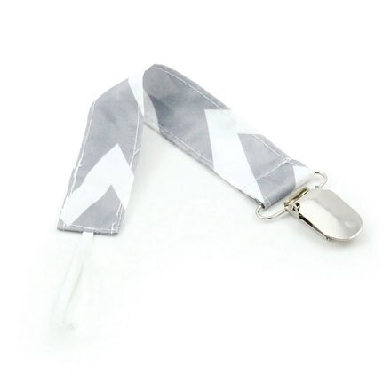 美國Bumkins 防水奶嘴鏈-灰鋸齒 BKPC-501【悅兒園婦幼生活館】
