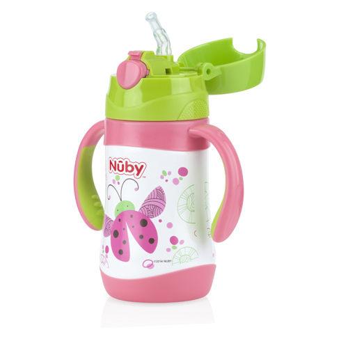 『121婦嬰用品』Nuby不鏽鋼真空學習杯-瓢蟲(細吸管) 280ml 0