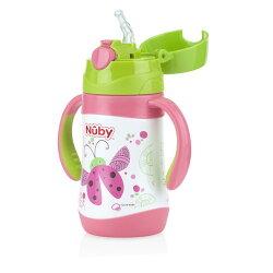Nuby不鏽鋼真空學習杯-瓢蟲(細吸管) 280ml『121婦嬰用品館』