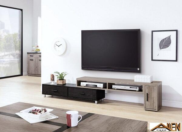 亞倫精品傢俱:亞倫傢俱*肯納4.6尺伸縮電視櫃(古橡木色)
