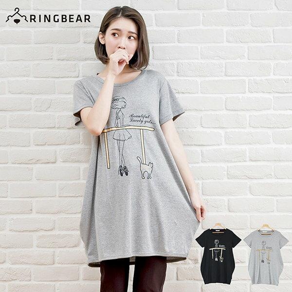 長版上衣--芭蕾女孩與小貓可愛印圖棉質舒適長版T恤(黑.灰XL-5L)-D281眼圈熊中大尺碼 0