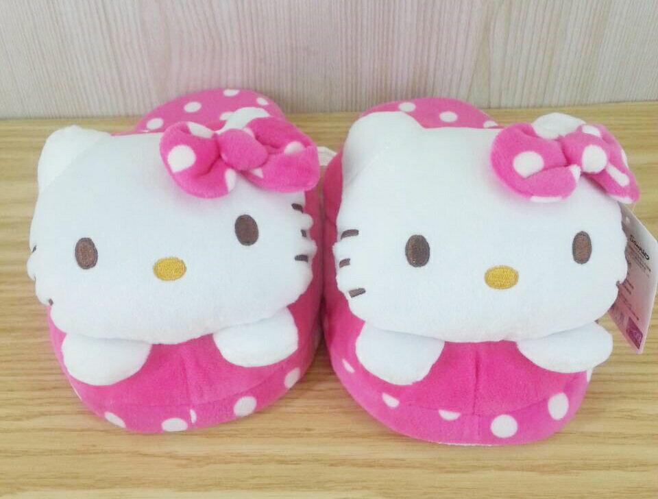 【真愛日本】15121800001 立體大頭室內絨布拖-圓點桃 KITTY 凱蒂貓 三麗鷗 拖鞋 毛拖鞋 保暖用品